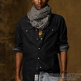 Denim & Supply Ralph Lauren���ǥ˥�����ץ饤 ���ե?��� : Black Denim Western Shirt