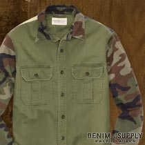 �ǥ˥�&���ץ饤 : Camo-Sleeved Twill Shirt [�º�µ�ĥ��륷���]