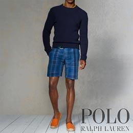 ポロラルフローレン : Straight-Fit Linen Plaid Short [シルク&リネンショート]